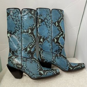 Donald J. Pilner Snake Print Leather Western Boot